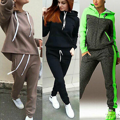 Plus Size Womens Hooded Tracksuits Set Lounge Wear Ladies Tops Pants Sport