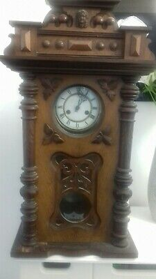 Beautiful Antique Carved Walnut Mahogany   Wall Clock