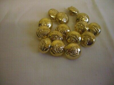 GOLD DOMED SHAPED MILITARY  DESIGN  BUTTONS  x 15 FREE P&P