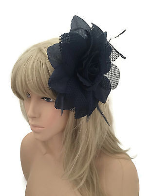 Large Navy Blue Flower Fascinator Hair Grip with Net & Feathers Corsage Pin