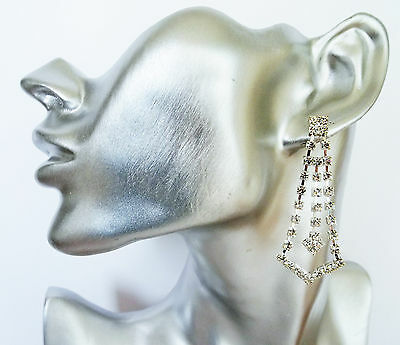 Bridal Prom Gorgeous Sparkly Diamante Crystal Chandelier Dangle Drop earrings