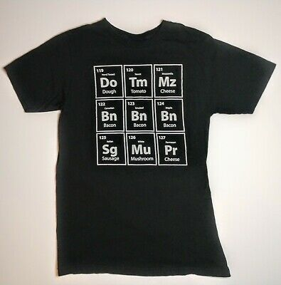 Periodic Table of Pizza Ingredients Bacon Funny Graphic T-Shirt Medium Sz. M