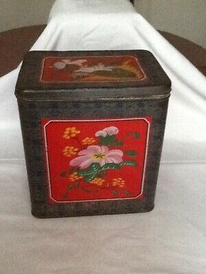 Vintage Metal Box Tin. Lovely bright pattern.