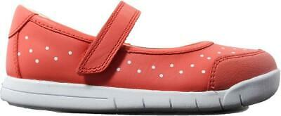 Clarks Emery Halo Infant Coral Leather Girls Rip Tape Mary Jane Shoes