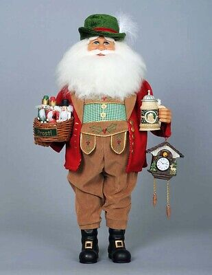 Christmas Decorations - German Santa With Cuckoo Clock - Holiday Figure