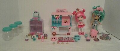Shopkins Dolls, Donut Stand, Accessories Lot of 28