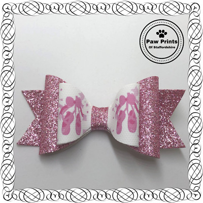 "Ballet Shoes Pink Sparkly Glitter Hair Bow -  3.5"" Hair Clip Ballerina Dance"