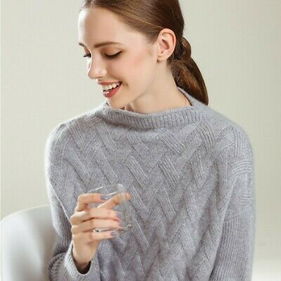 Womens Warm Cashmere Sweater Long Sleeve Wool Loose Knitwear Jumper Thick Winter