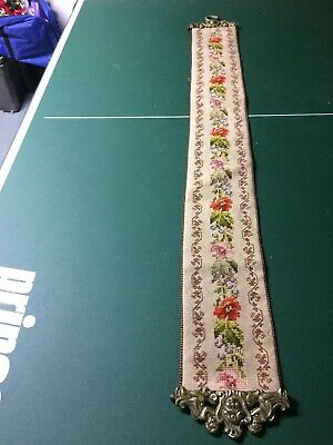 Vintage Hand  Embroidered Tapestry Long wall hanging/bell pull