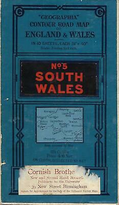 Vintage 1923 Number 5 South Wales Cloth Geographia Road Map