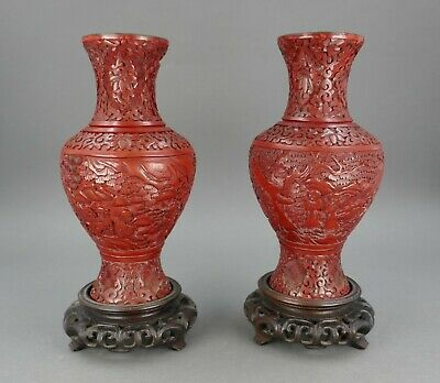 Fine Pair Antique Chinese Carved Red Cinnabar Lacquer Vases With Stand