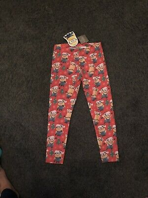 Next Girls Red Minions Despicable Me Festive Christmas Leggings 8 Years