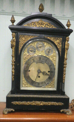 Large Antique Ebony Bracket Clock Case with Brass EB Booth Rochester NY C.1870