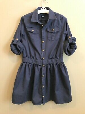 Girls 14 Ralph Lauren Shirt Dress Navy Blue Burron Front