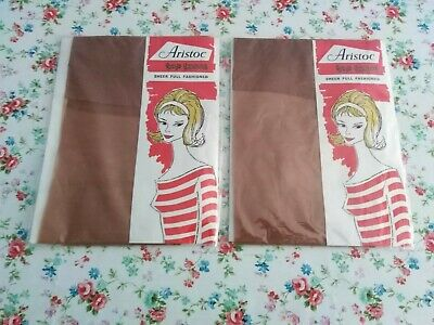 Aristoc Top Teens Vintage Seamed Stockings, size 9 - Coriander. 2 pairs