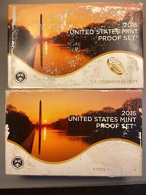2015 -S US Mint Clad Proof Set 14 Coins With COA & Impaired Box - Lot Of 2 Sets