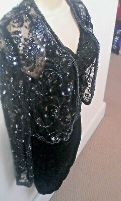 Hamells Of London Vintage Beautiful Sequin Lace Party Jacket New