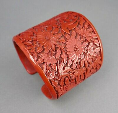 Fine Antique Chinese Carved Red Cinnabar Lacquer Tall Cuff Bracelet