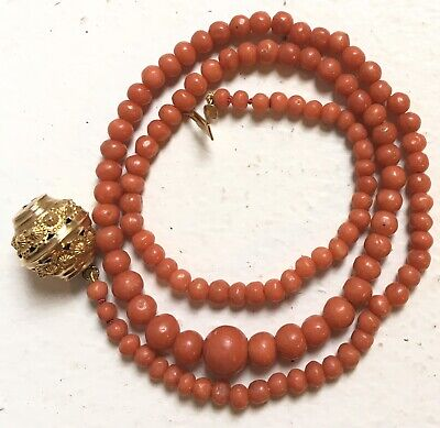 Collier Ancien Corail Or 18k Antique Victorian Etruscan Gold red Coral Necklace