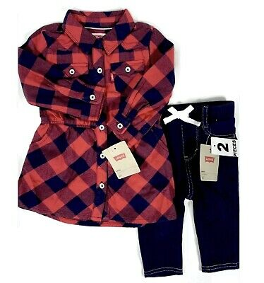 Levi's 2 Pc Set For Baby Girl Knit Leggings Red Plaid Shirtdress 6-9 Mo was $76