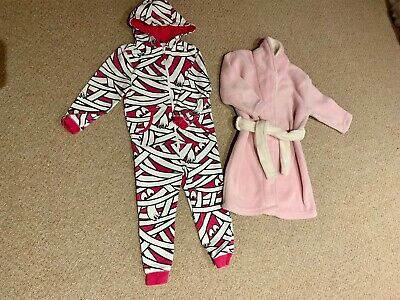Girls Age 3-4 Years Bundle  Fleece Dressing Gown & All In One Suit Pyjamas Asda
