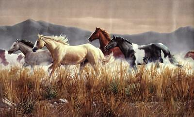 Running Wild Horses Mustang Western Country Brown Wallpaper