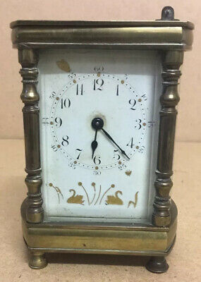 Antique Brass Carriage Clock Swan Dial Face Cylinder Escapement For Restoration