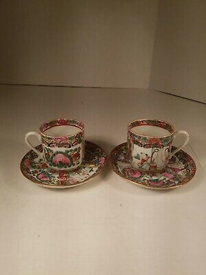 Vintage Chinese Medallion Cups and Saucers Y.T handpainted hongkong.. 2 sets