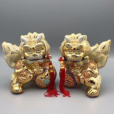 2 Chinese Ceramic Foo Dogs Guardian Lions Hand Painted Gold Gilt 6 Inch