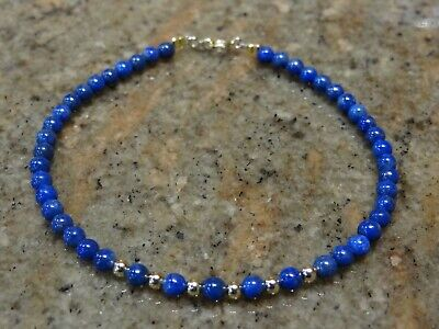 14kt Solid Yellow Gold & Lapis Gemstone Bangle Bracelet Women/Men 8""
