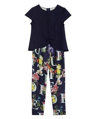 Ted Baker - Girls' navy cape floral print jumpsuit  BNWT £35 5 Years Old
