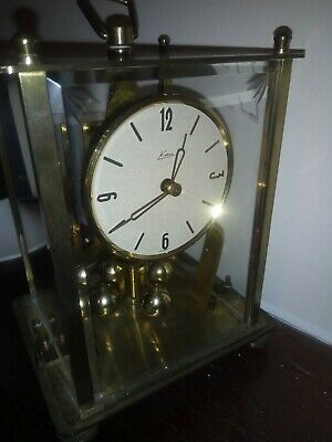 Vintage KERN Anniversary Brass & Glass Carriage Clock  with key.
