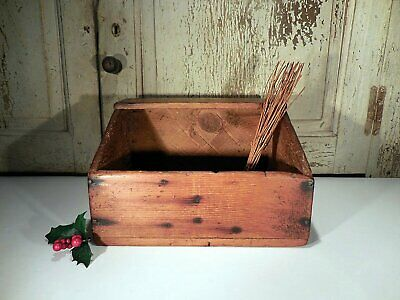 AAFA Early Primitive Pine Table Box Antique Wooden Storage Box