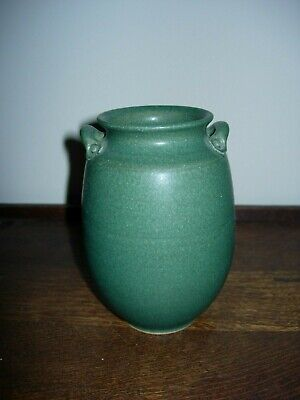Small Japanese Arts & Crafts Vase with Cucumber Green Glaze