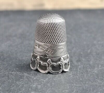 Antique sterling silver thimble, Victorian sewing