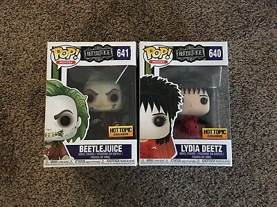 Funko Pop! Beetlejuice And Lydia Deetz Hot Topic Exclusive 2pc Lot