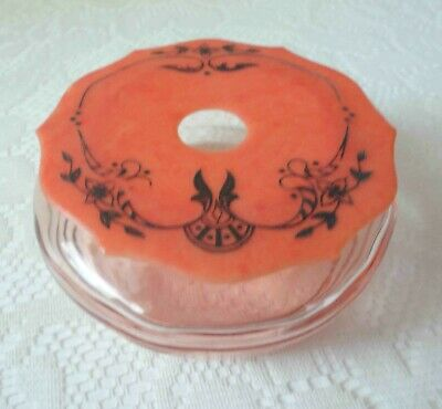 1920's Coral Color Art Deco Celluloid Hair Receiver with Glass Vanity Jar/Box