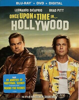 ONCE UPON A TIME IN HOLLYWOOD ~ Blu-Ray + DVD + Digital *New *Factory Sealed•