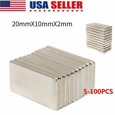 100pcs N50 20x10x2mm Neodymium Block Magnet Oblong Super Strong Rare Earth Magne