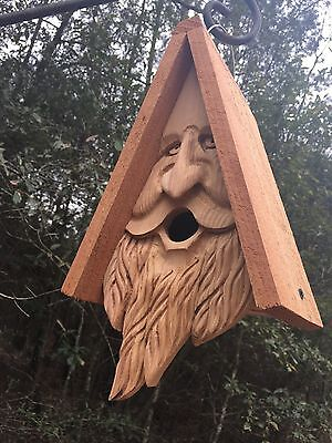 Wood Spirit rustic Old Man Face Hand Carved Cedar Bird House Birdhouse Happy