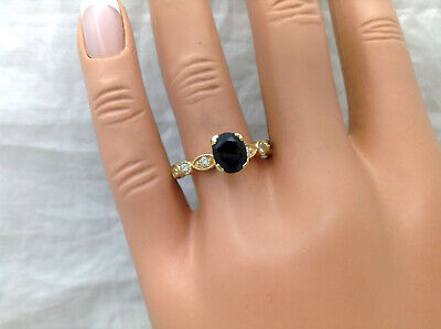 1.40Ct Genuine Natural Sapphire And Diamond Ring In Solid 14K Yellow Gold, Oval