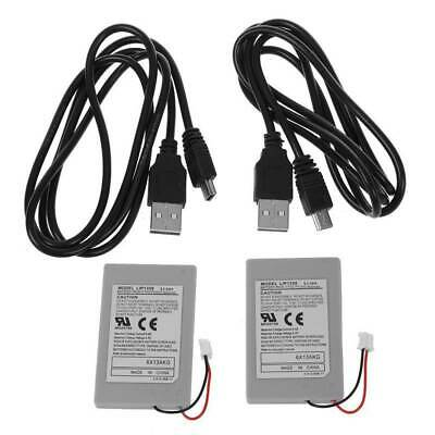 2X Replacement Li-ion Battery Pack For SONY PS3 Wireless Controller +USB Cable