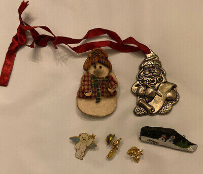 Vintage Gorham Christmas Ornament Silver Plate Plus Other Pins Only $8 Free Ship