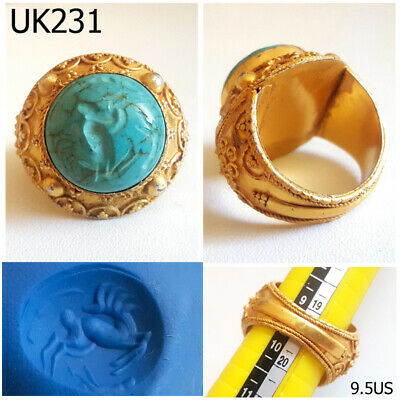 Antique Deer INTAGLIO Green Turquoise Stone Gold Plated Ring Size 9.5US #UK231a