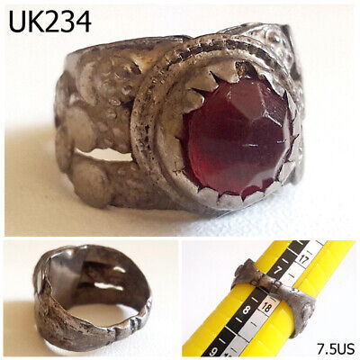 Ancient Kuchi Nomadic Tribal Red Glass Silver Filigree Ring Size 7.5 #UK234a