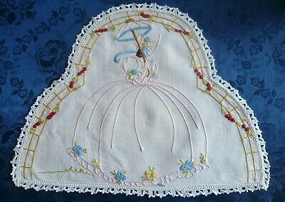 Vintage Hand Embroidered Crinoline Lady Doiley With White Hand Crocheted  Edge