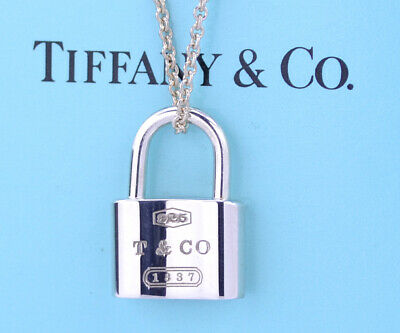 """TIFFANY&Co 1837 Lock Pendant Necklace 16"""" Sterling Silver 925"""