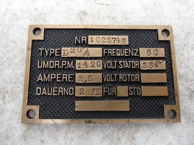 altes Typenschild Messing für Elektromotor Type D20/4