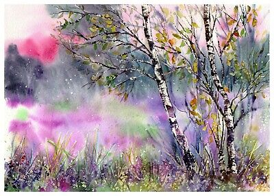 Idyllic Meadow - Original Watercolor Painting signed, countryside birch trees