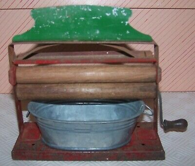 MINIATURE MANGLE AND METAL TUB - PRE 1950's - GREAT PROP FOR DOLLS